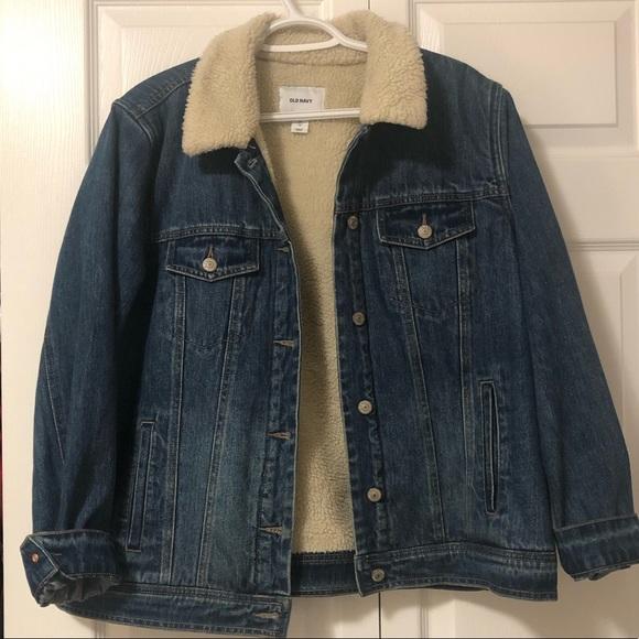 old navy sherpa denim jacket